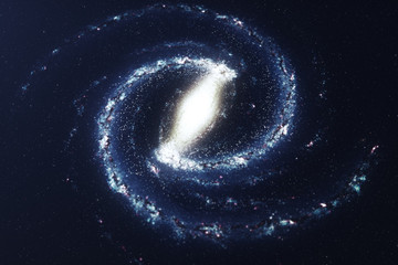 3D illustration galaxy in deep space. Spiral galaxy consisting of star dust, nebula of gas. Concept of deep space travel. Scientific concept. Elements of this image furnished by NASA