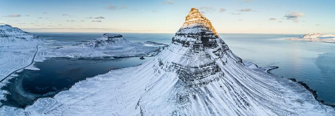 Famous Kirkjufell mountain in winter, Iceland