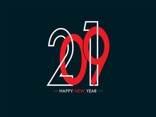 Blank for congratulations on the new year 2019 with the contours and silhouettes of numbers