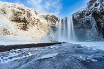 Printed roller blinds Waterfalls Beautiful Skogafoss waterfall in winter. Iceland.