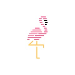 flamingo logo stripes vector icon illustration