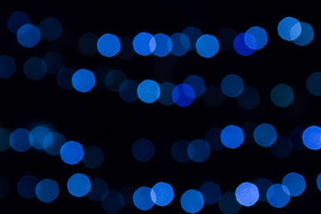 Blurred abstract bokeh background. Blue lights