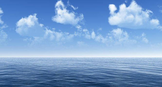 Beautiful sea and clouds sky - 3D rendering