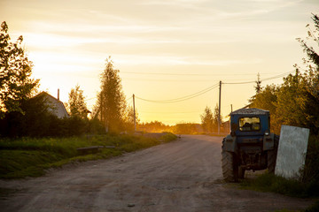 tractor on an empty country road