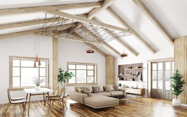 Interior of modern living room 3d rendering