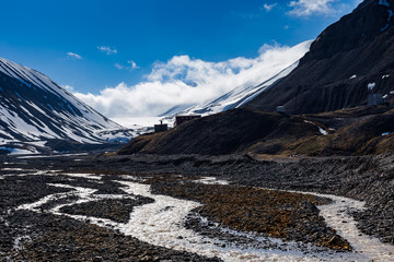Melting glacier forms a mountain river Longyearbyen
