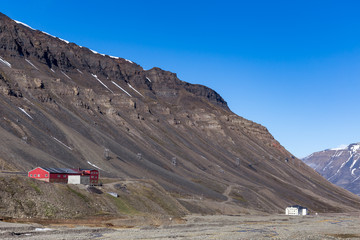 Buildings and abandoned ropeway of the mining town Longyearbyen