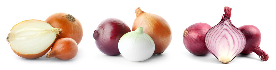 Set with fresh onions on white background