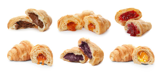 Papiers peints Dessert Set with fresh tasty croissants and different fillings on white background