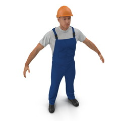 Construction Worker with Hardhat Standing Pose On White