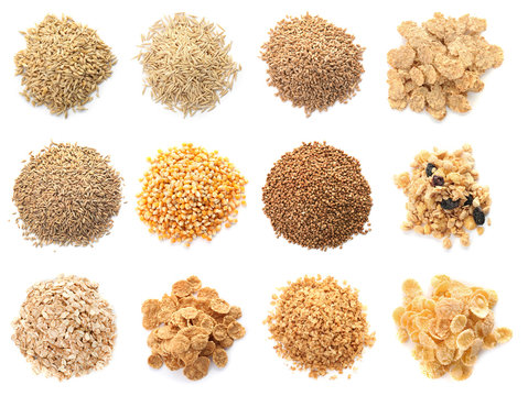 Set with different cereal grains on white background, top view