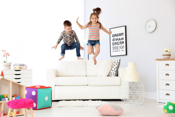Cute little children playing, indoors