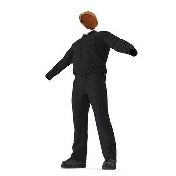 Long Sleeve Coveralls Uniform With Orange Hardhat