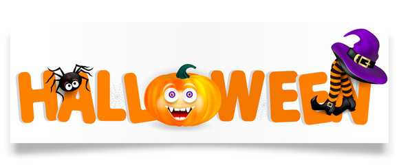 Orange lettering Halloween with pumpkin with happy face, spider, purple witch hat and legs with striped stockings isolated on white background. Halloween horizontal banner with shadow
