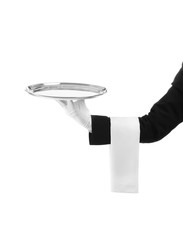 Waiter holding metal tray on white background