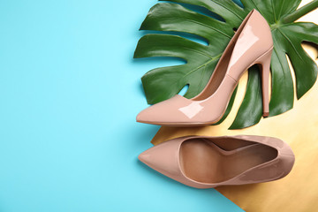 Flat lay composition with pair of beautiful shoes, monstera leaf and space for text on color background Wall mural
