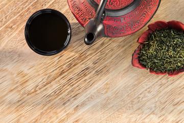 Asian tea set on wooden table