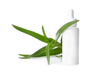 Bottle with aloe vera extract and fresh leaves on white background