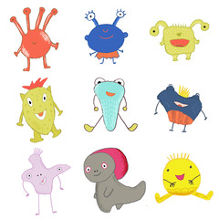 Happy cute monsters whimsical illustration for print, t-shirt, stickers