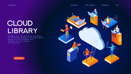 Cloud library isometric concept banner