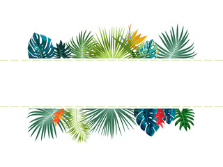 Vector tropical jungle frame with palm trees and leaves on white background.