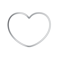 silver color shiny heart shape isolated on white background