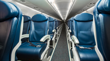 Empty seats in economy class airplane