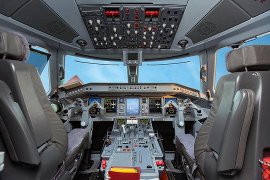 BAKU, AZERBAIJAN - OCTOBER 8, 2017: Flight deck of  Embraer E-Jet 190 airplane