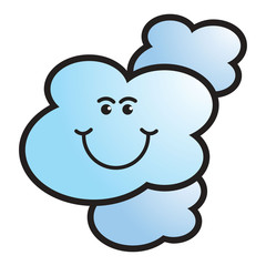 isolated happy cloud vector cartoon