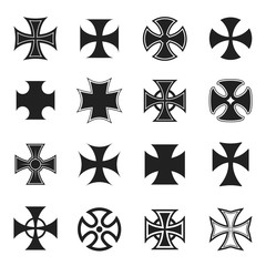 Chopper cross icon set, black and white