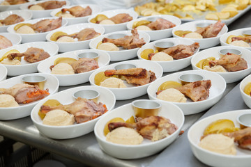 Airline food cooked in commercial kitchen