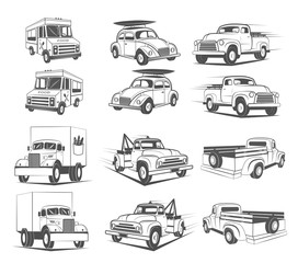 Set of vintage cars logo element design