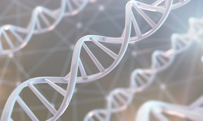 3d rendering of DNA molecule spiral, genetic research concept background. Wall mural