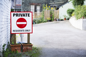Private residents only sign at car park entrance