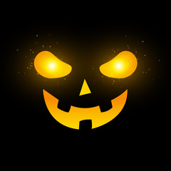Terrible Halloween face. Yellow glowing eyes with flying magical dust. Cartoon scary face on a black background. Vector illustration