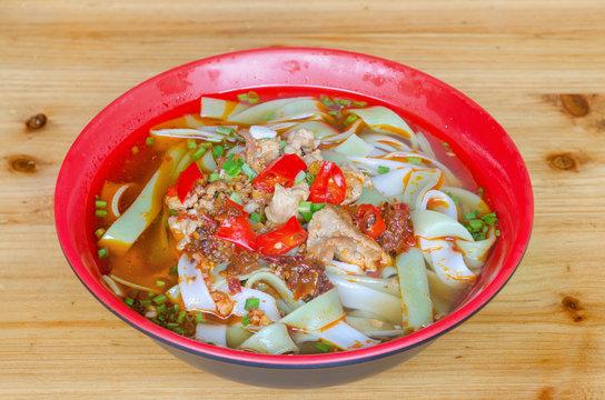 noodles with pork at Tianzi shan mountain, Zhangjiajie Hunan province China.