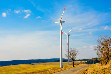 Wind power plants in the Czech Republic as a source of green energy. Turbine green energy electricity technology concept. Renewable wind energy. Power generation with wind turbines in a wind farm.