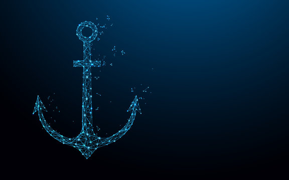 Sea anchor form lines, triangles and particle style design. Illustration vector