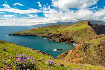 Hiking vacation on Ponta de Sao Lourenco peninsula, Madeira island, Portugal