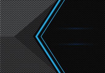 Abstract blue light arrow on gray black circle mesh 3D design modern futuristic background vector illustration.