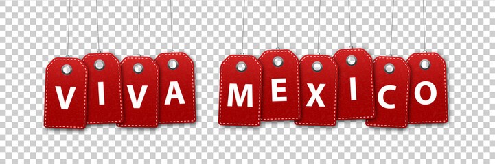 Vector realistic isolated price tags for Viva Mexico for decoration and covering on the transparent background. Concept of sale for Happy Independence Day in Mexico.
