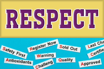 Respect Tag word cloud concept. Logo banner