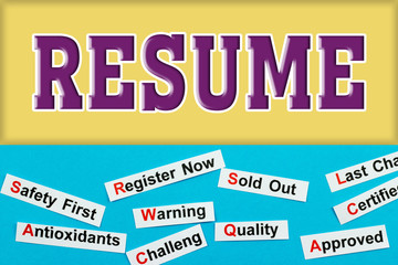 Resume Tag word cloud concept. Logo banner