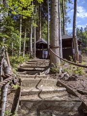 Stairs in the forest and gazebos Krasnaya Polyana Sochi 09/01/2018