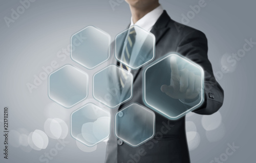 Hexagon message bubbles for business and finance concept