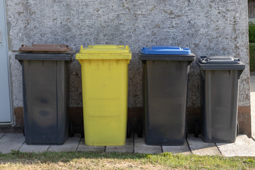 Different colorful gabbage bins in front of a wall