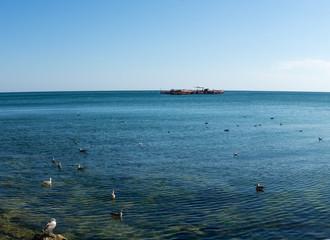 View of Black Sea shellfish farm in Bulgaria