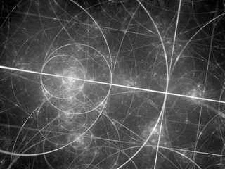 Glowing fibonacci circles in space black and white