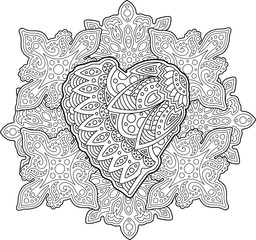Pattern with heart for coloring book page