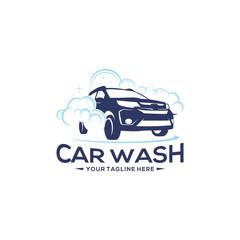Silhouette Logo design concept. Car Wash Logo Vector Template